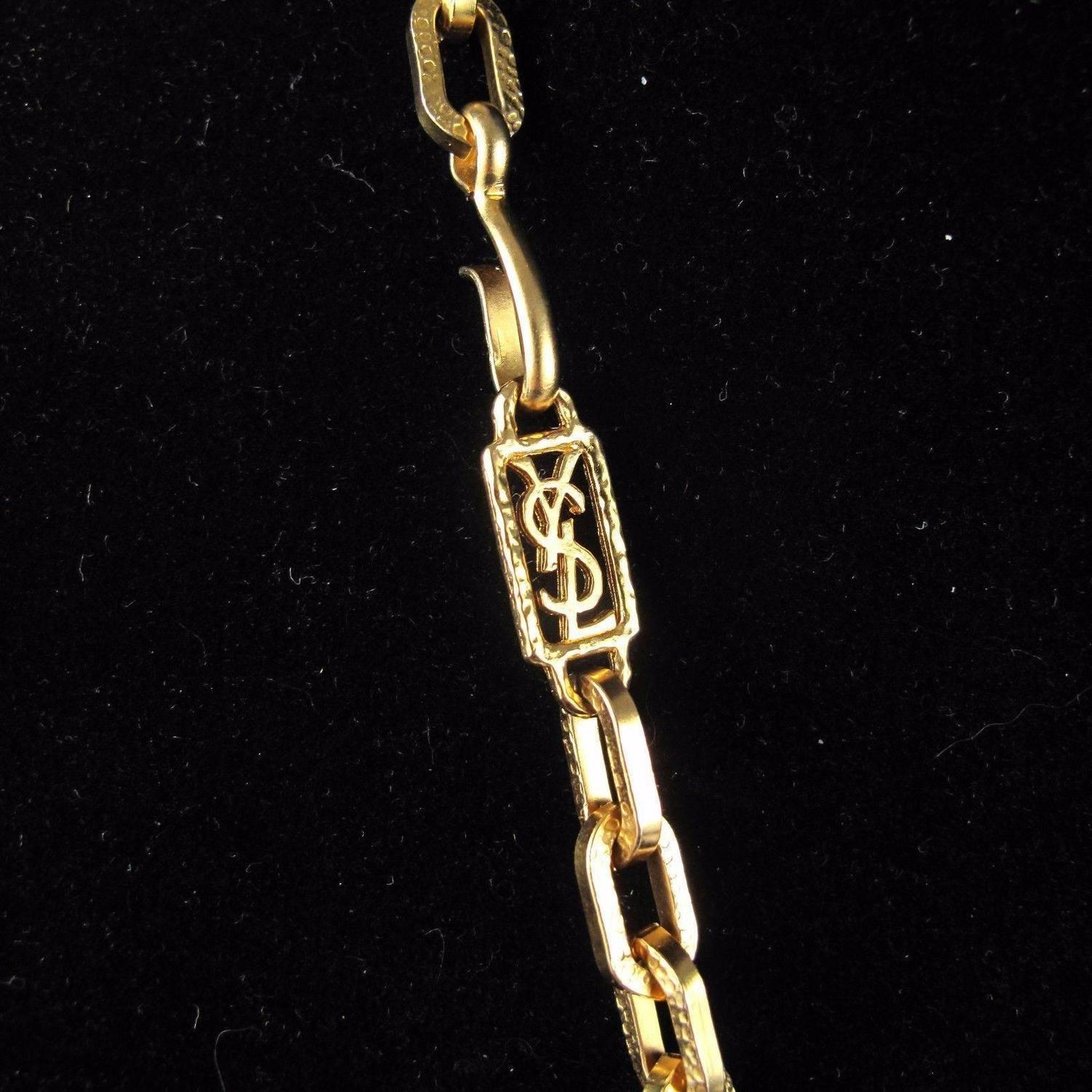 Ysl Logo Gold Vintage Necklace 34 Quot Long Box Chain Yves