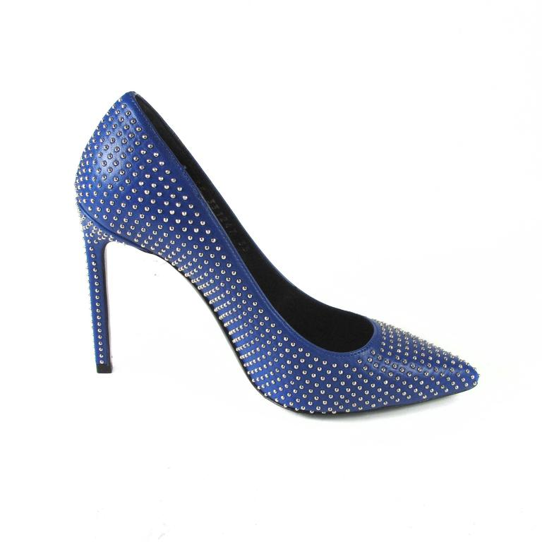 Saint Laurent Heels - New - 5 - 35 - Blue Leather Silver Studded