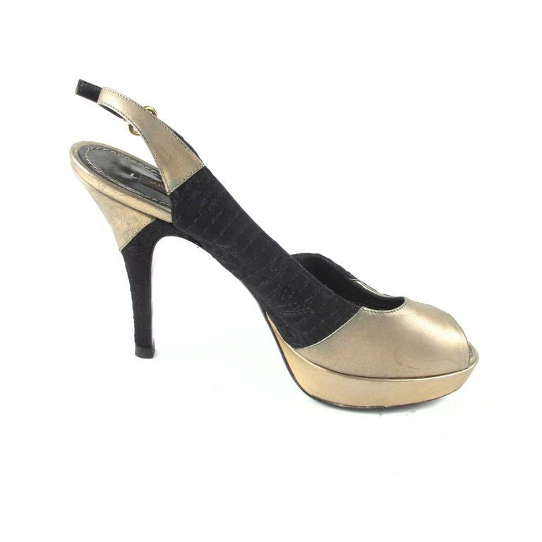 louis vuitton heels us 6 5 36 5 black gold leather