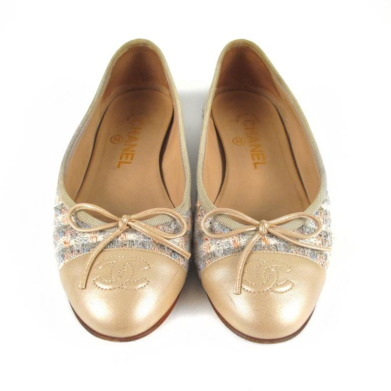 Chanel Tweed Flats Us 6 36 Gold Leather Cc Bow