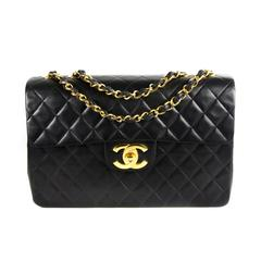 Chanel Maxi Flap Bag - Black Quilted Leather Vintage CC Logo Gold Chain Handbag