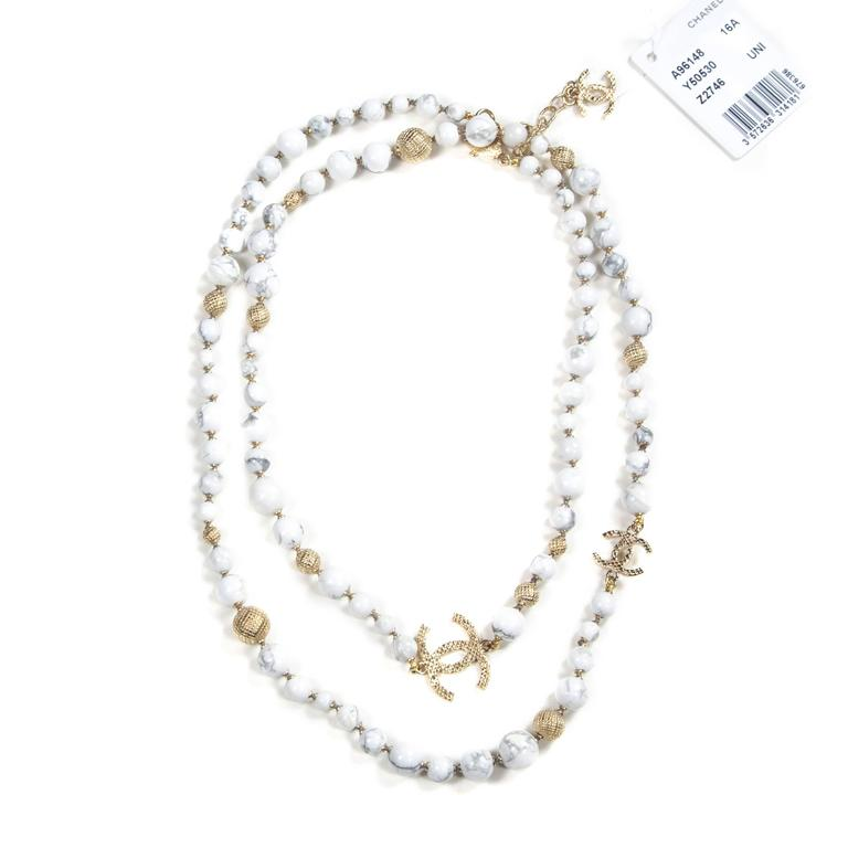 chanel pearl marble necklace 2016 new white bead gold