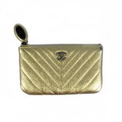Chanel Pouch Clutch Bag - Gold Metallic Leather Chevron CC Logo Ocase O Case