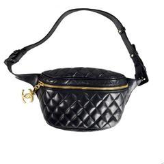 Chanel Fanny Back Belt Bag - Black Quilted Leather Waist Gold CC Vintage Handbag