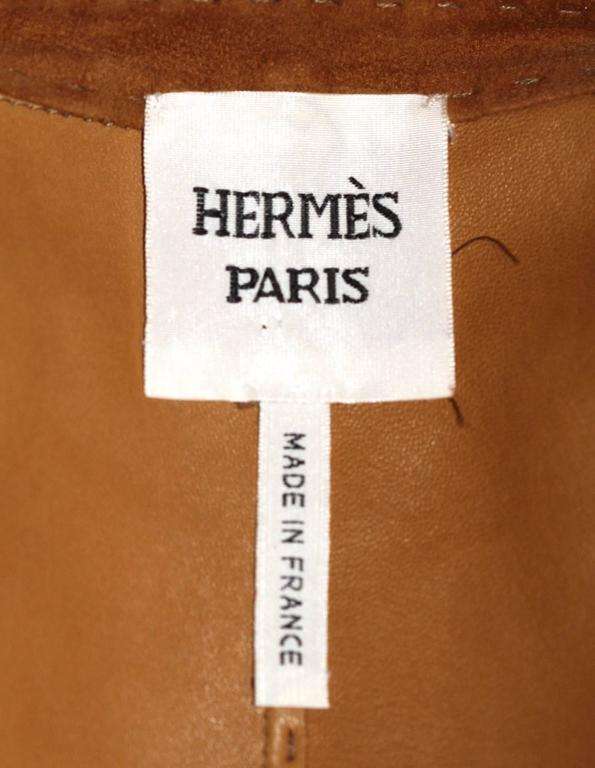 Brown HERMES Camel Suede Wrap Design Vest  For Sale