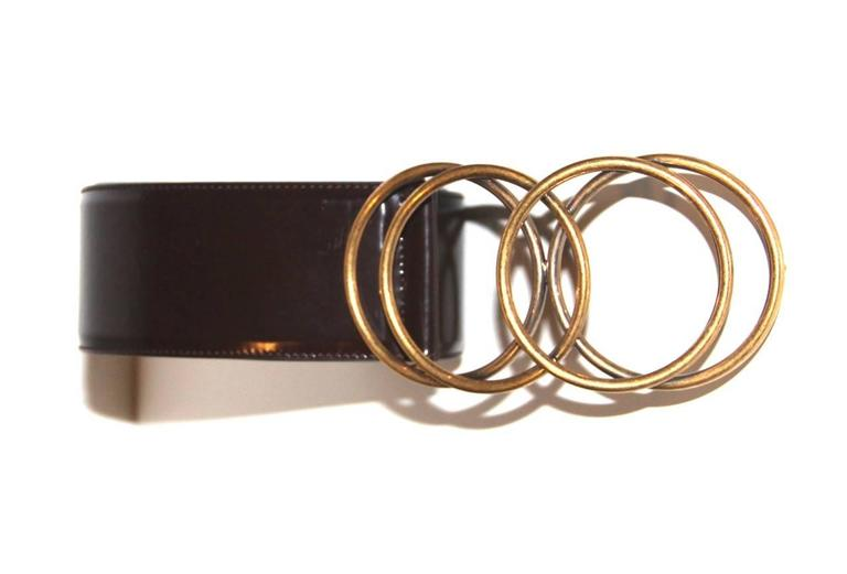 Yves Saint Laurent Brown Glossy Leather Belt - Vintage  2