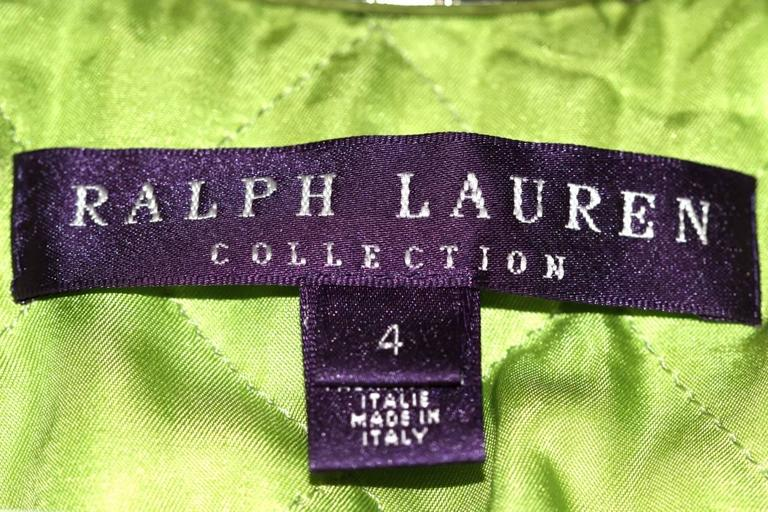 Ralph Lauren Neon Green Leather Biker Jacket - US 4 - Pristine Condition 4