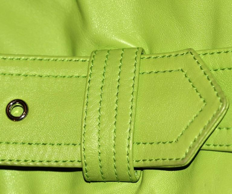 Ralph Lauren Neon Green Leather Biker Jacket - US 4 - Pristine Condition 8