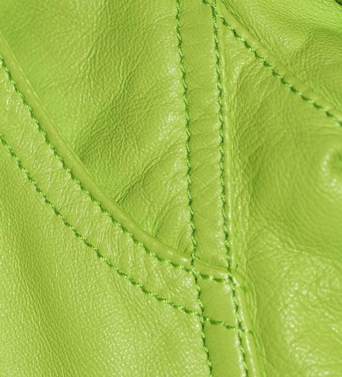Ralph Lauren Neon Green Leather Biker Jacket - US 4 - Pristine Condition 9
