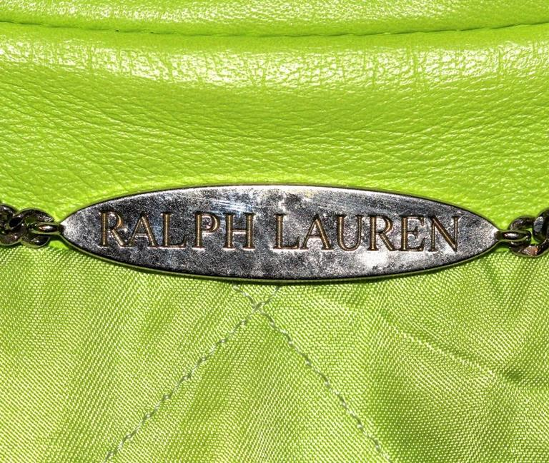 Ralph Lauren Neon Green Leather Biker Jacket - US 4 - Pristine Condition 3