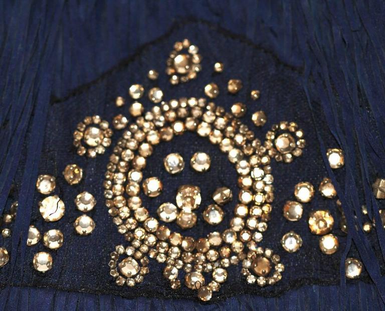 Lanvin Dark Blue Fringe Mini Dress - Charleston Style - FR 38 3