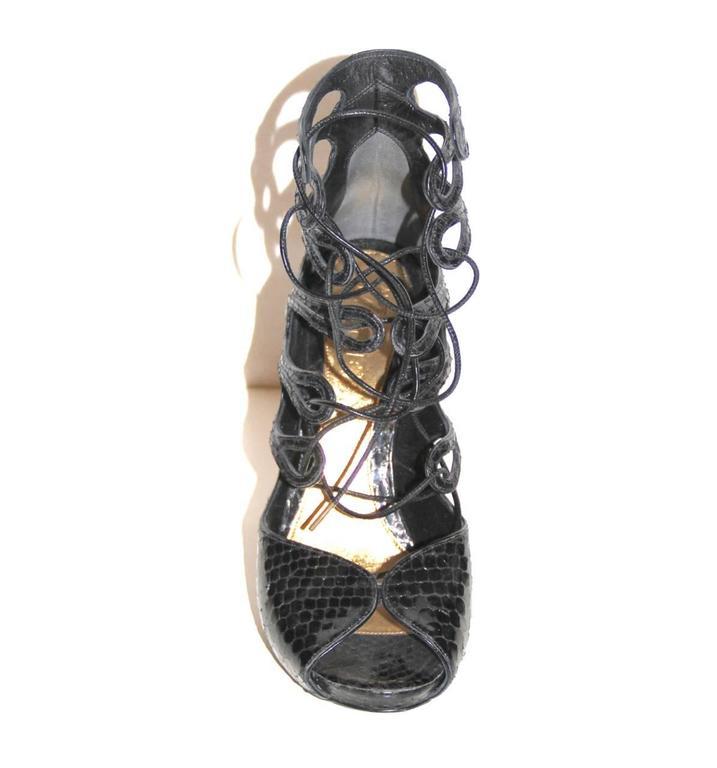 Alexander McQueen Black Python Lace-up Sandals - IT 39 - Pristine Condition 3
