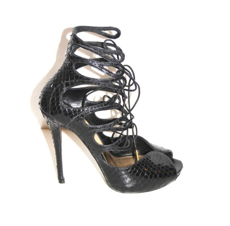 Alexander McQueen Black Python Lace-up Sandals - IT 39 - Pristine Condition 6