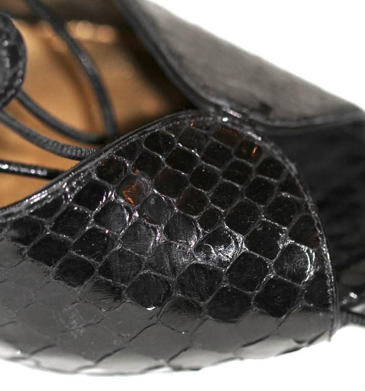 Alexander McQueen Black Python Lace-up Sandals - IT 39 - Pristine Condition 8