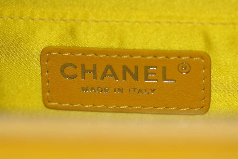 Chanel Mini Pocket Box Bag - Yellow Quilted Patent Leather - Pristine Condition 9