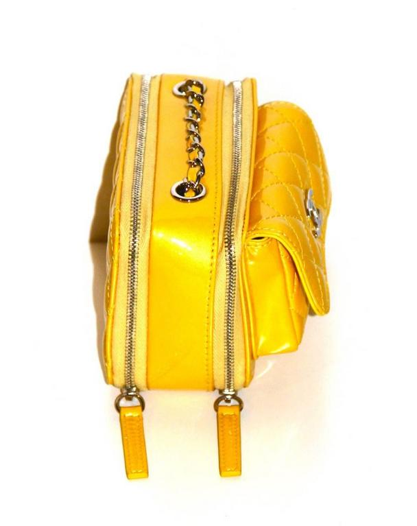 Chanel Mini Pocket Box Bag - Yellow Quilted Patent Leather - Pristine Condition 3