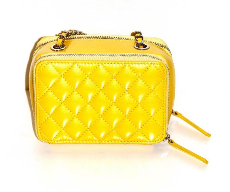 Chanel Mini Pocket Box Bag - Yellow Quilted Patent Leather - Pristine Condition 4