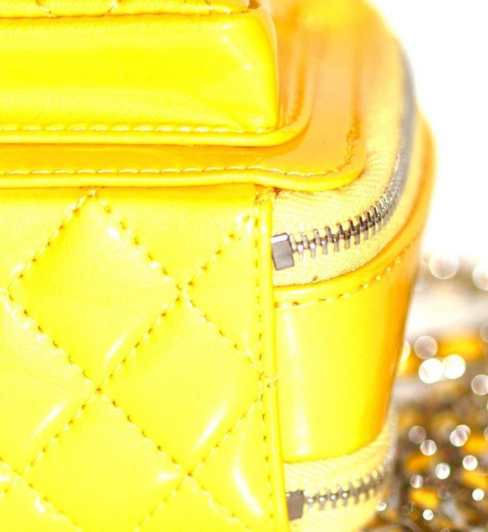 Chanel Mini Pocket Box Bag - Yellow Quilted Patent Leather - Pristine Condition 7