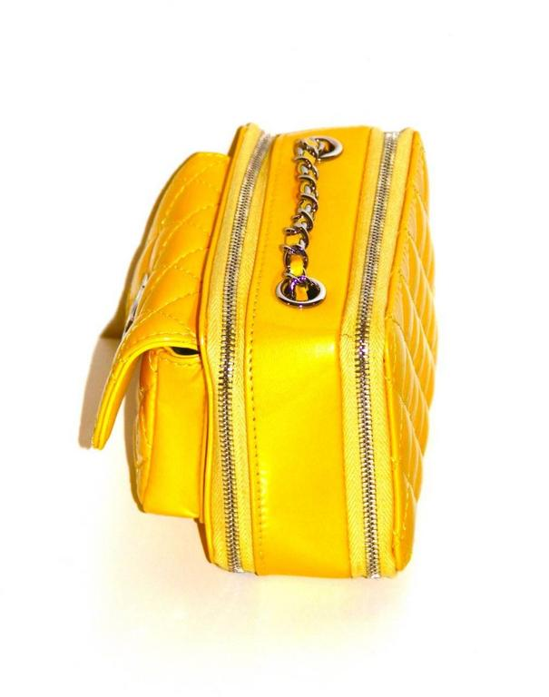 Chanel Mini Pocket Box Bag - Yellow Quilted Patent Leather - Pristine Condition 5