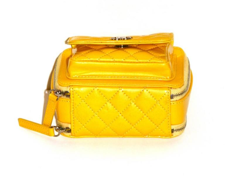 Chanel Mini Pocket Box Bag - Yellow Quilted Patent Leather - Pristine Condition 6