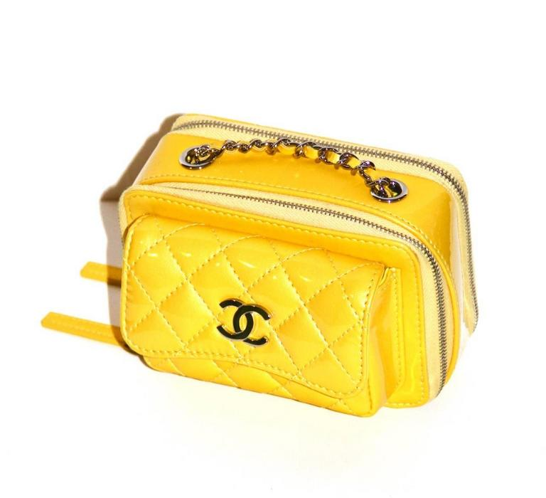 Chanel Mini Pocket Box Bag - Yellow Quilted Patent Leather - Pristine Condition 2