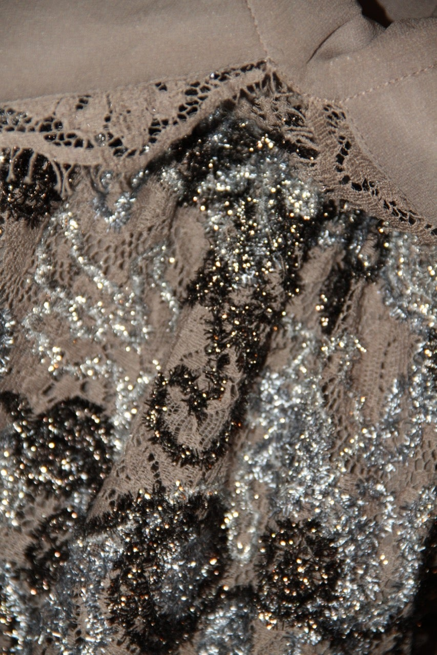 035e494260bb8 BURBERRY Silver and Bronze Floral Pattern Lace Dress For Sale at 1stdibs