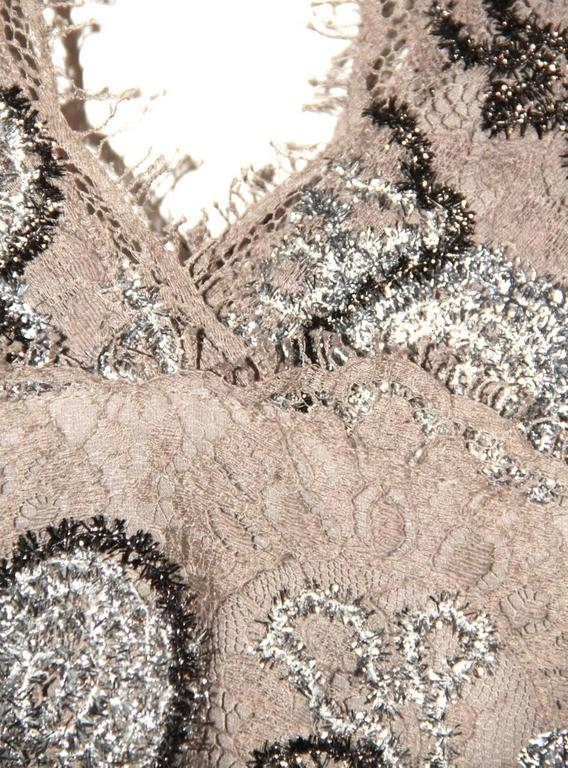 Burberry Lace Dress – Silver and Bronze Floral Pattern - Excellent Condition 4