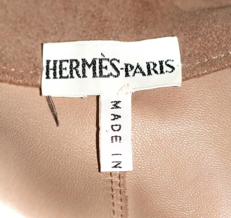 HERMES Stunning Beige Suede Anckle Length Coat  In Excellent Condition For Sale In Geneva, CH