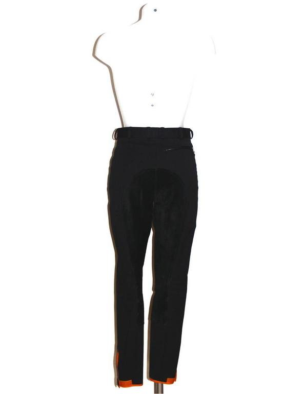 Hermes Black Riding Horse Pants - Stretch Cotton and Suede - Size S 2