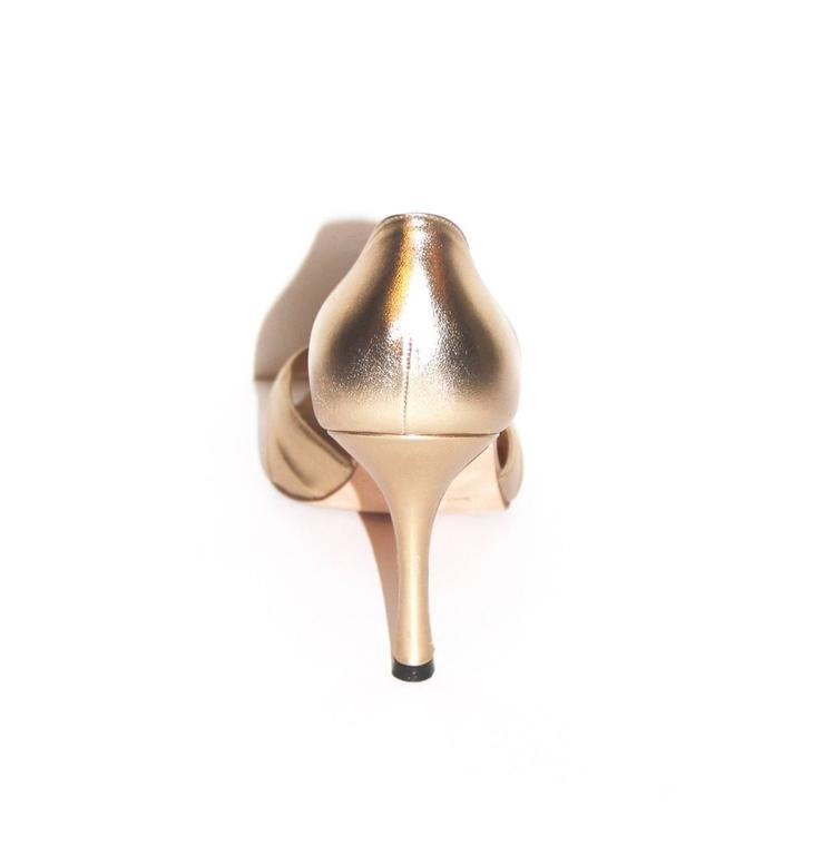 "Manolo Blahnik Gold Leather Pumps ""Sedaraby"" - Open-Toe - EU 39.5 5"