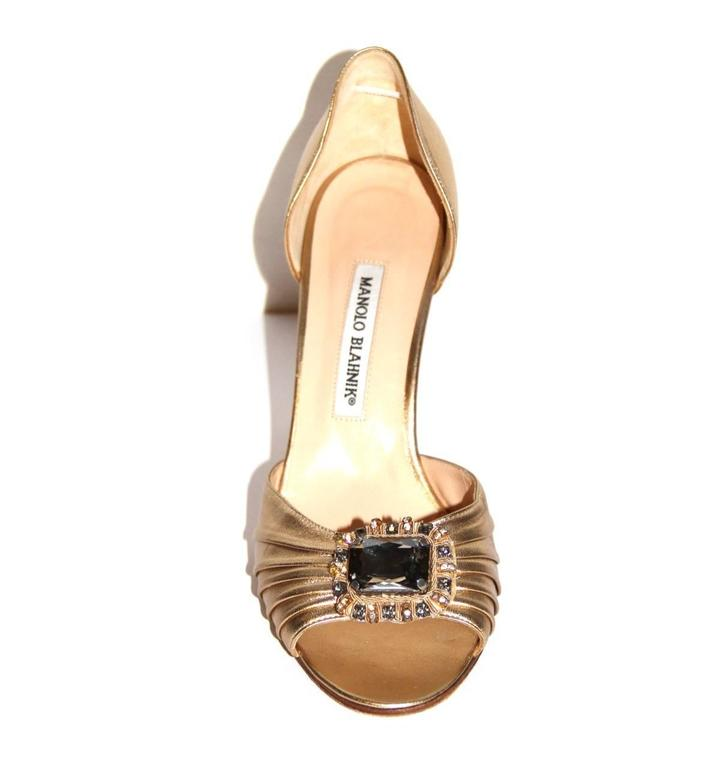 "Manolo Blahnik Gold Leather Pumps ""Sedaraby"" - Open-Toe - EU 39.5 2"