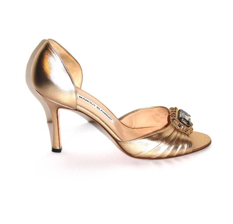 "Manolo Blahnik Gold Leather Pumps ""Sedaraby"" - Open-Toe - EU 39.5 4"