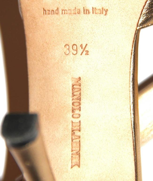 "Manolo Blahnik Gold Leather Pumps ""Sedaraby"" - Open-Toe - EU 39.5 7"