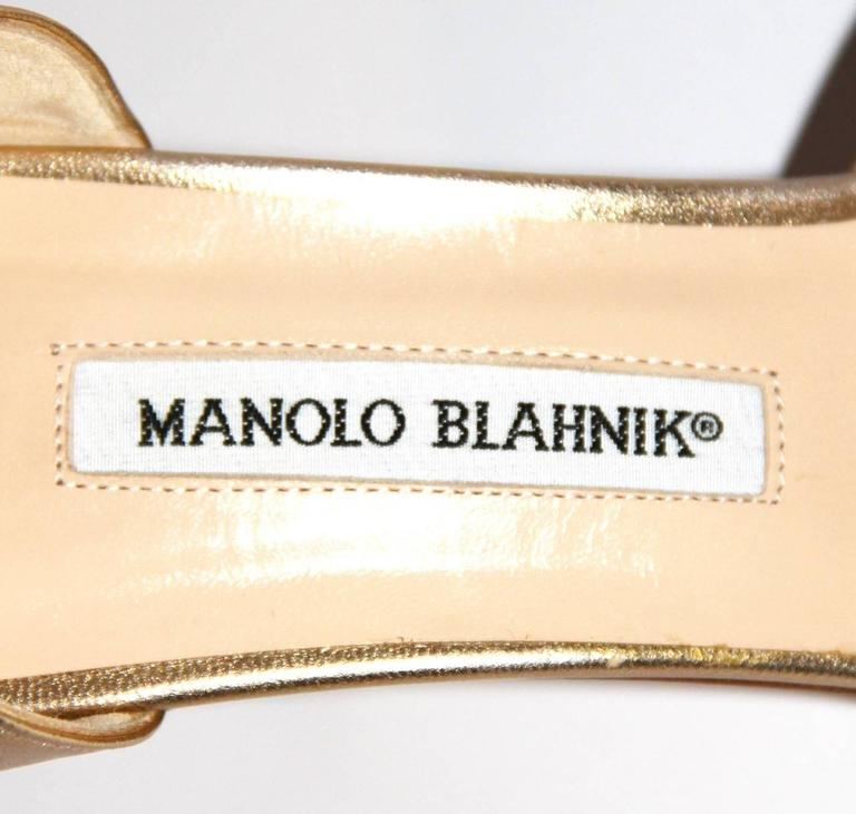 "Manolo Blahnik Gold Leather Pumps ""Sedaraby"" - Open-Toe - EU 39.5 8"