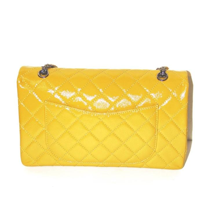 2ba05a5948af Yellow CHANEL 2.55 REISSUE Anise Quilted Patent Leather Classic 227 Flap Bag  For Sale