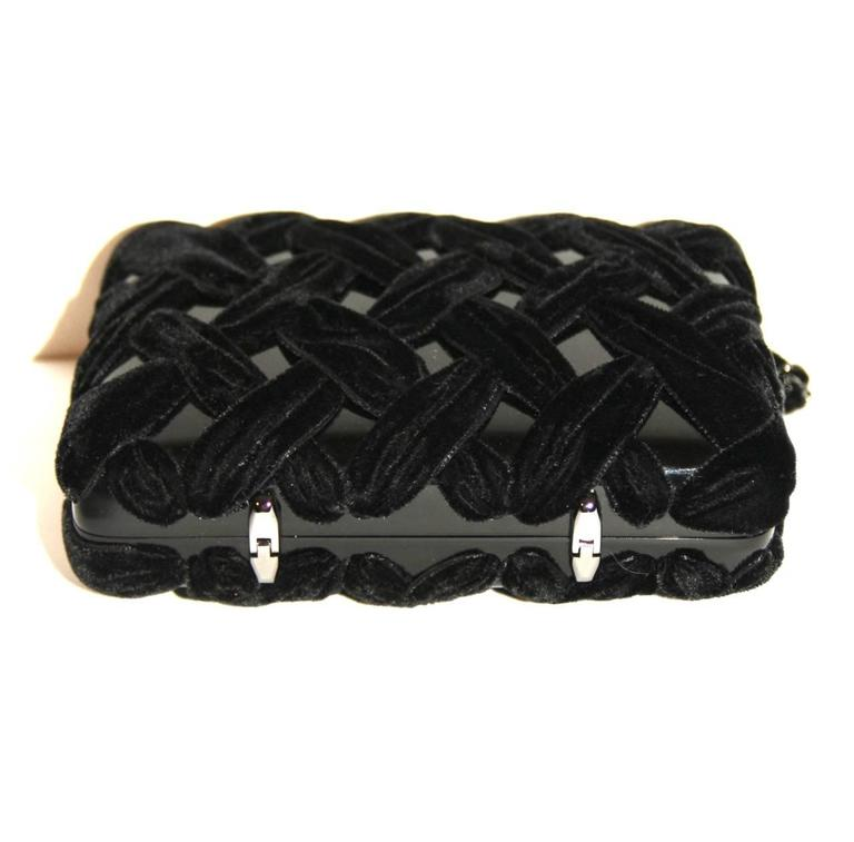 Chanel Black Evening Clutch - Velvet and Resin - CC Lock - Excellent Condition 2