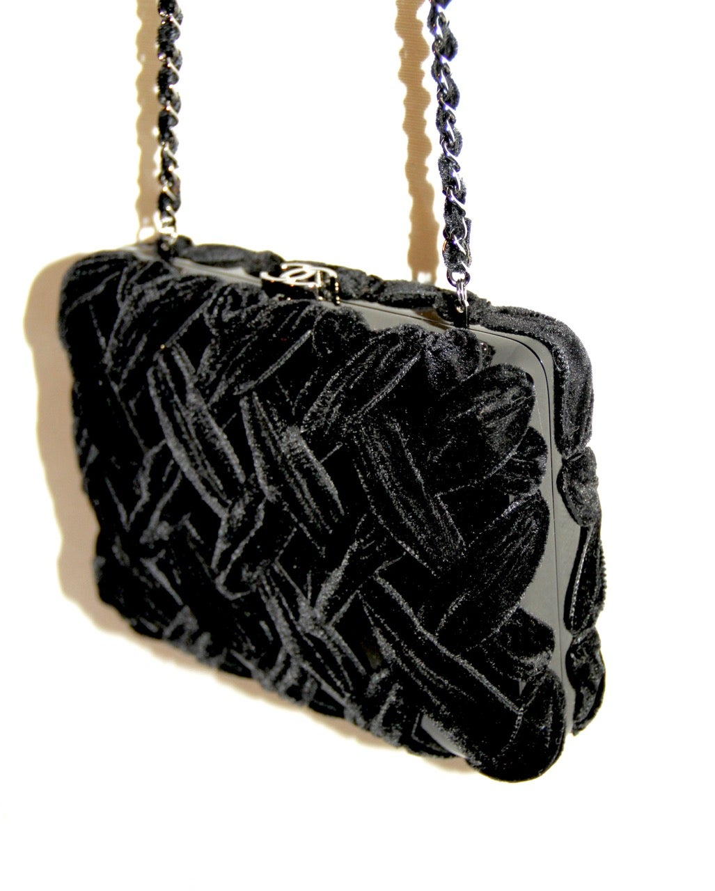 8aedfa2ef793 Chanel Black Evening Clutch - Velvet and Resin - CC Lock - Excellent  Condition at 1stdibs