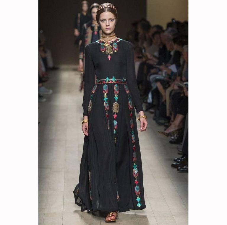 Valentino Black Silk Long Dress - Multicolored Embroidery - SS 14 ...