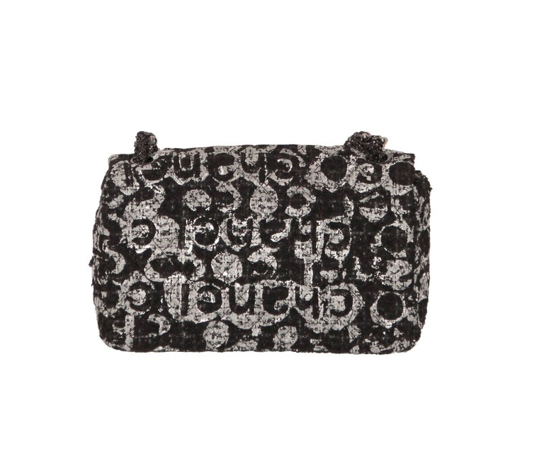 e086be51555f Charming and very rare Chanel Single Flap bag set in black  white  grey  tweed