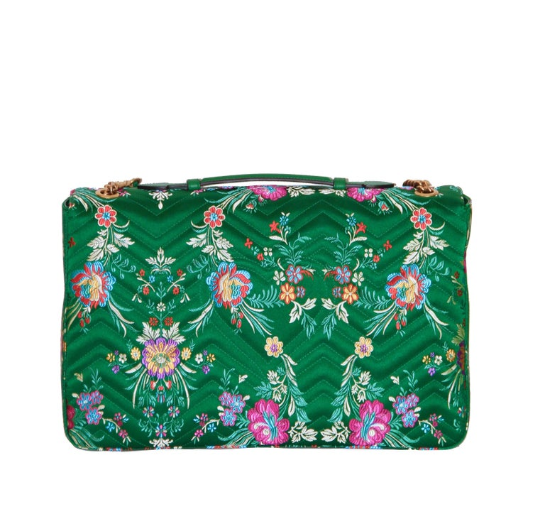 9dd92b6739e0 Blue GUCCI GG Marmont Maxi Handbag Quilted Floral Jacquard For Sale
