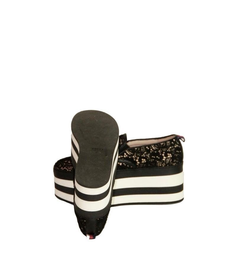 Gucci Black Lace Platform Sneaker For Sale 1
