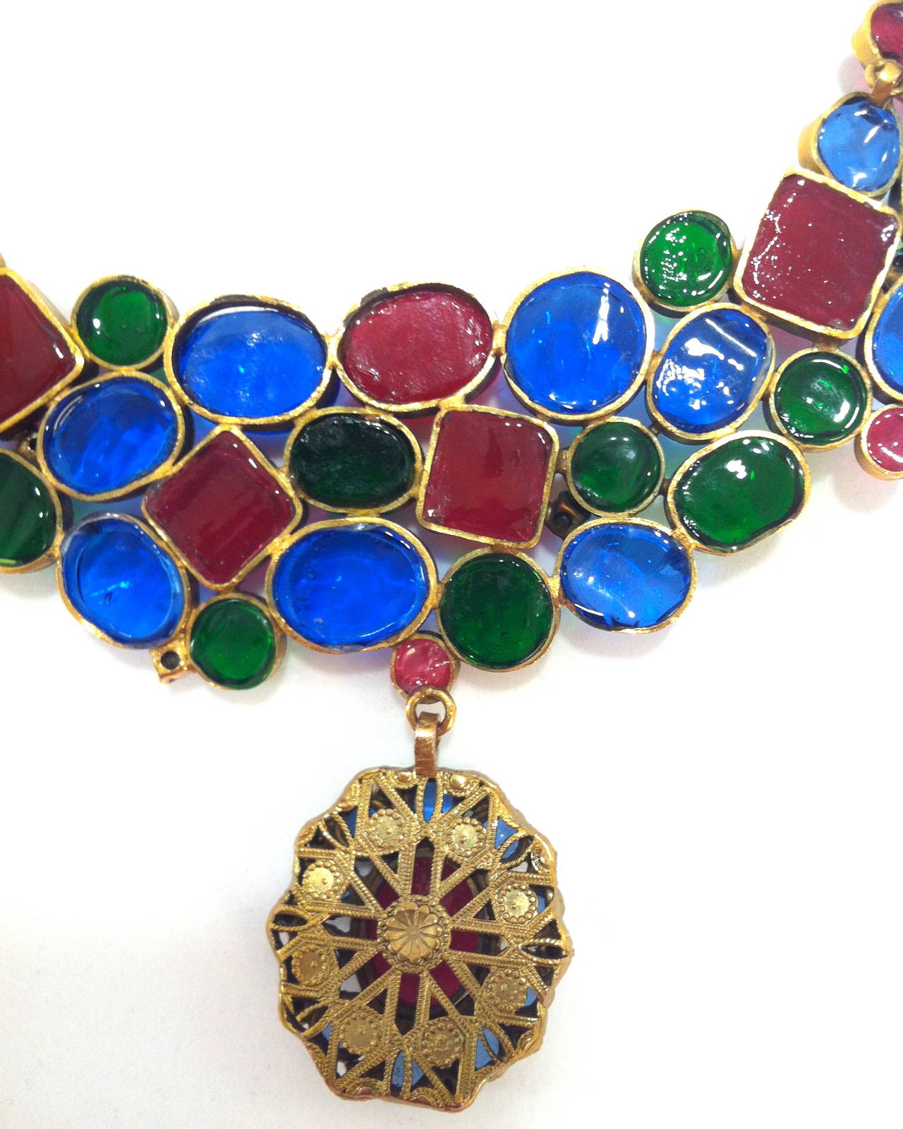 Rare 1970's Mademoiselle Chanel  Byzantine Necklace by Gripoix 4