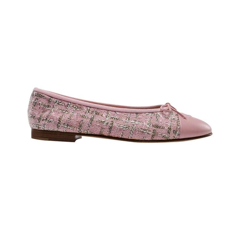Chanel Pink Tweed Ballerina Flats At 1stdibs