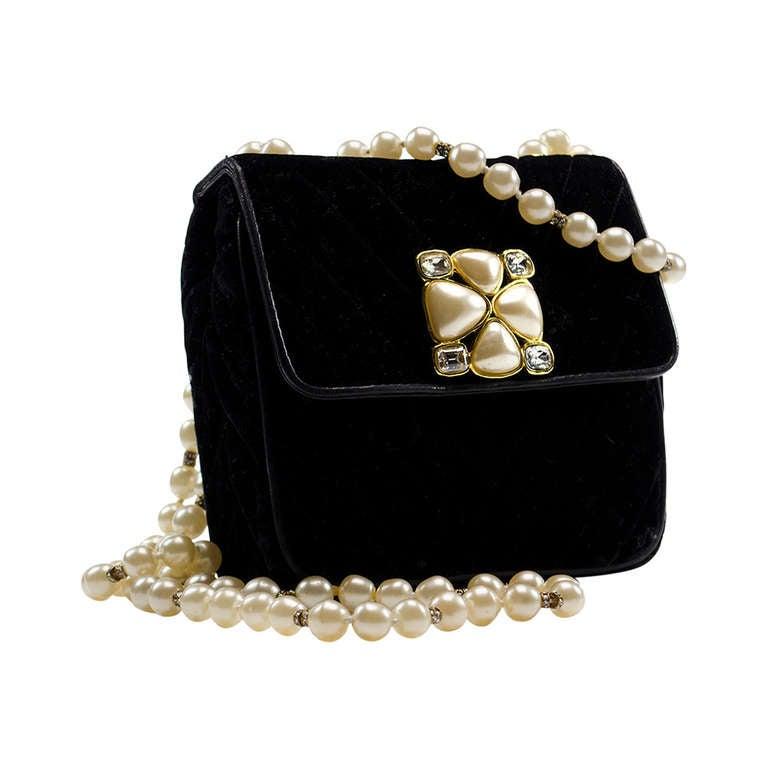 Chanel Vintage Velvet Pearl Gripoix Crossbody Evening Bag