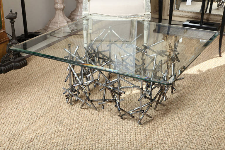 A designer original one-of-a-kind textured steel coffee table by Lou Blass, with a 1/2