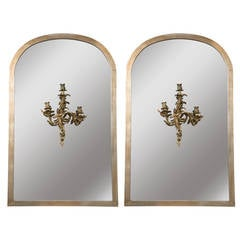 Pair of Monumental Dome Archway Mirrors with Bronze Sconce