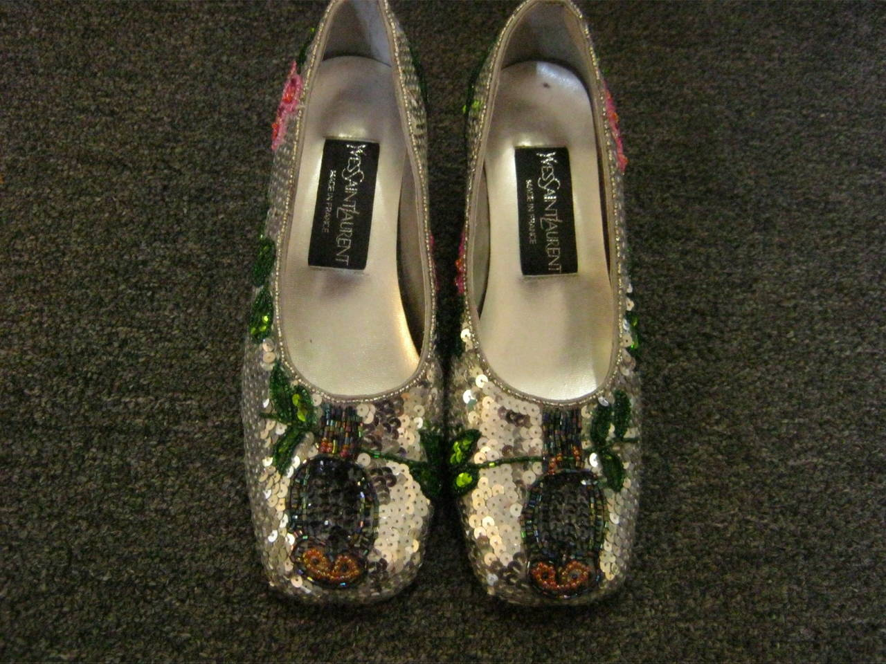 Vintage Yves Saint Laurent Sequin and Beaded Shoes 37 2