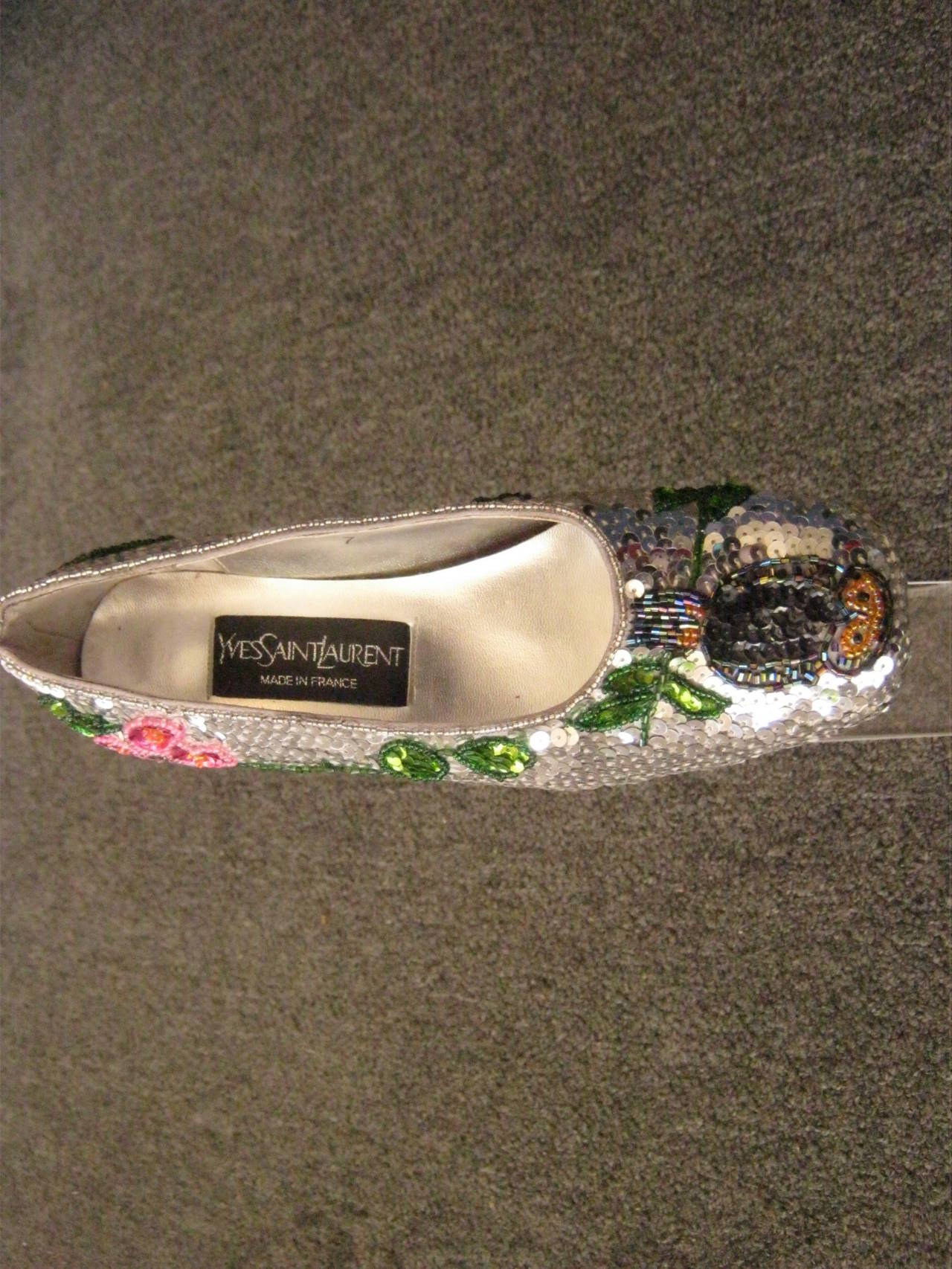 Vintage Yves Saint Laurent Sequin and Beaded Shoes 37 3