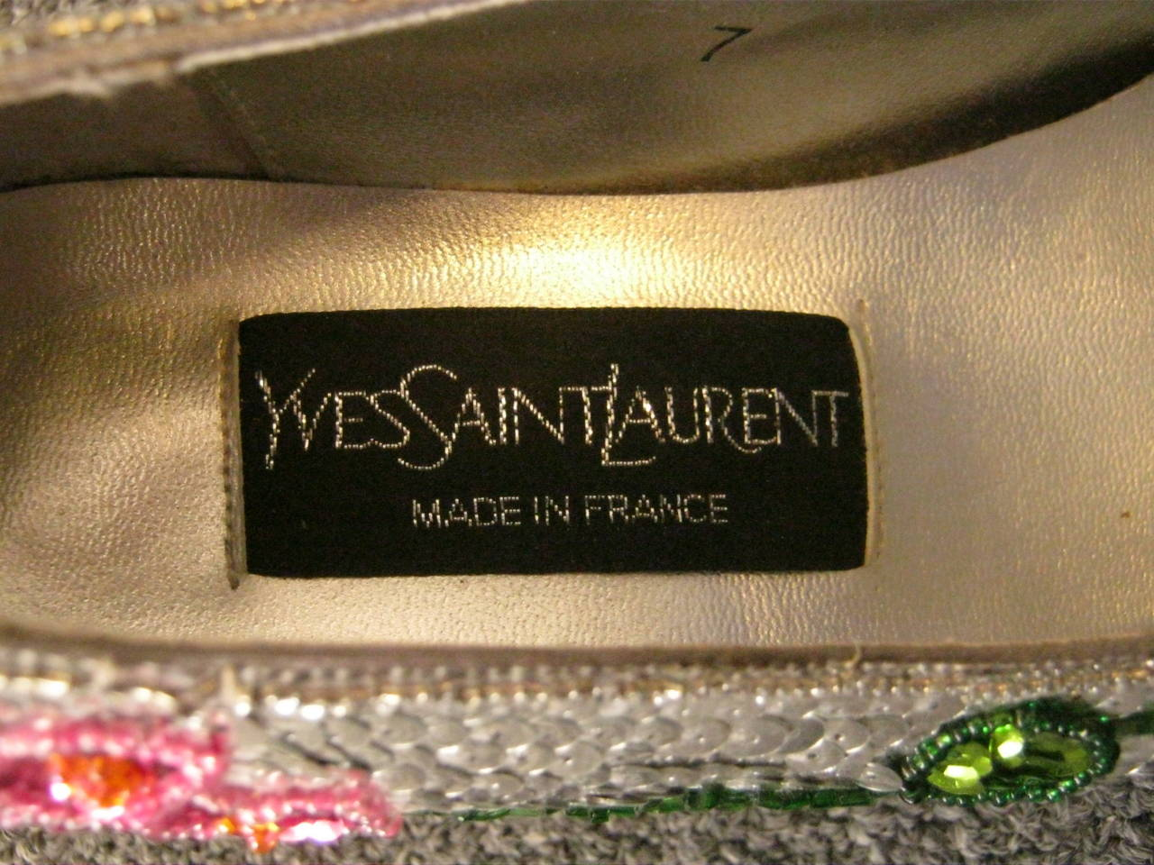 Vintage Yves Saint Laurent Sequin and Beaded Shoes 37 6