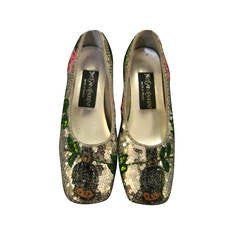 Vintage Yves Saint Laurent Sequin and Beaded Shoes 37